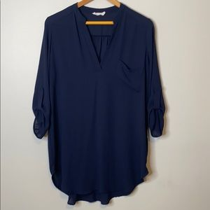 Lush 3/4 sleeve semi-sheer tunic dress - large